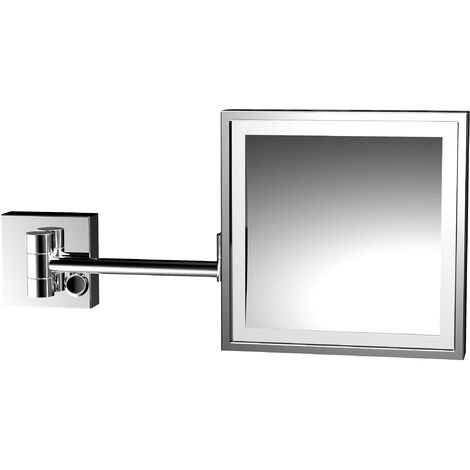 Emco LED shaving and cosmetic mirror, magnification: 3x, two-arm, angular, 202 x 202 mm, direct connection - 109500119