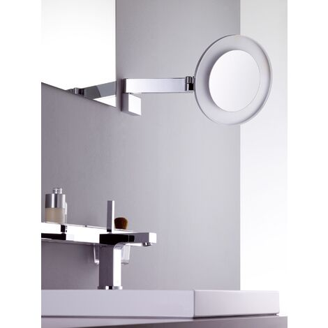 Emco LED shaving and cosmetic mirror, magnification 5x, round, high power LED, double hinged arm, inside cable - 109606008