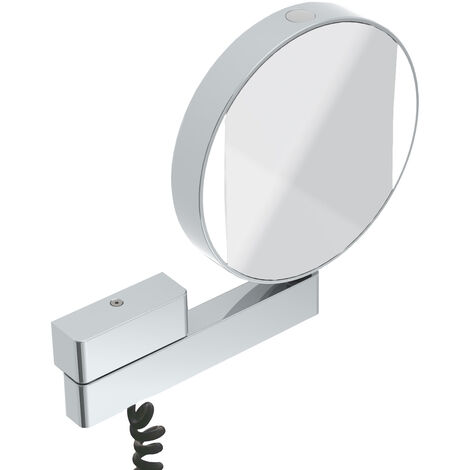 Emco LED shaving and cosmetic mirror, mirrored on both sides, magnification 3 and 7x, round, LED lighting, articulated arm, spiral cable and plug - 109506018