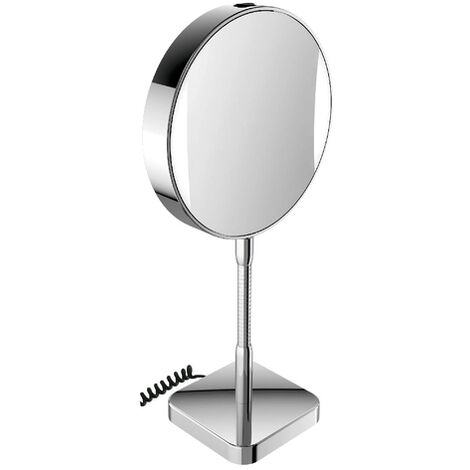 Emco LED shaving and cosmetic mirror, mirrored on both sides, magnification 3x and 7x, round, LED lighting, flex arm, floorstanding model - 109506013