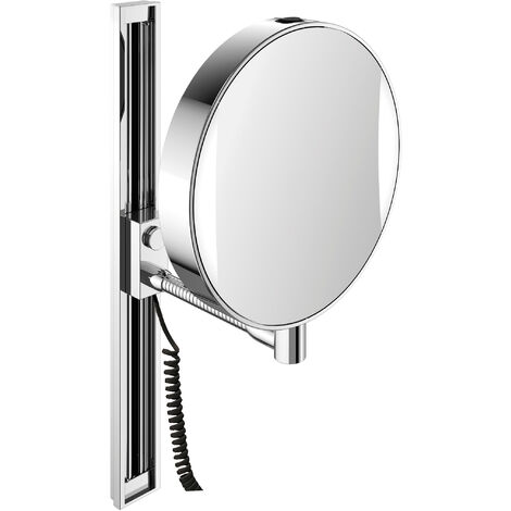 Emco LED shaving and cosmetic mirror, mirrored on both sides, magnification 3x and 7x, round, LED lighting, flexible arm, slide rail - 109506012