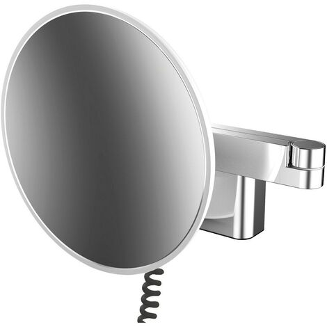 Emco LED shaving and cosmetic mirror, wall model, double-jointed arm, magnification 5-fold, round, spiral cable and plug - 109506040