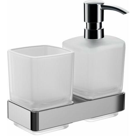 Emco porte-verre loft et distributeur de savon liquide, modèle mural, chromé - 053100100