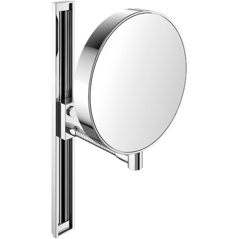 Emco shaving and cosmetic mirror, mirrored on both sides, magnification 3x and 7x, round, flex arm, slide rail, non-illuminated - 109500115