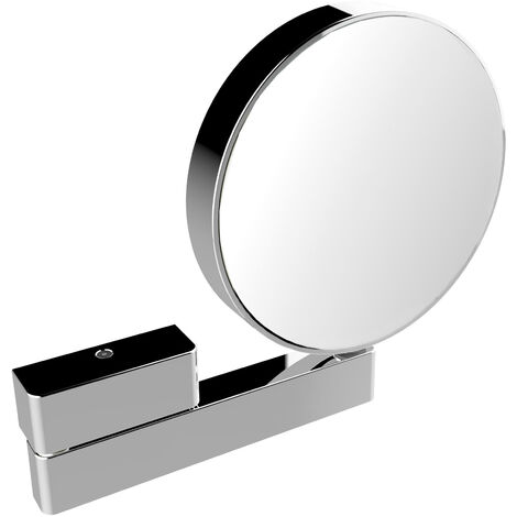 Emco shaving and cosmetic mirror, mirrored on both sides, magnification 3x and 7x, round, on articulated arm, unlit - 109500117