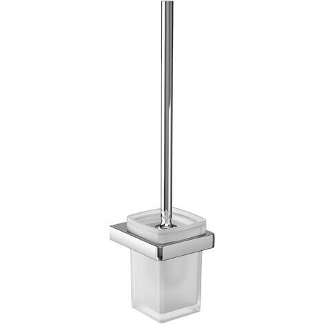 Emco trend toilet brush set, wall mounted, crystal glass satin, brush handle chrome - 021500100