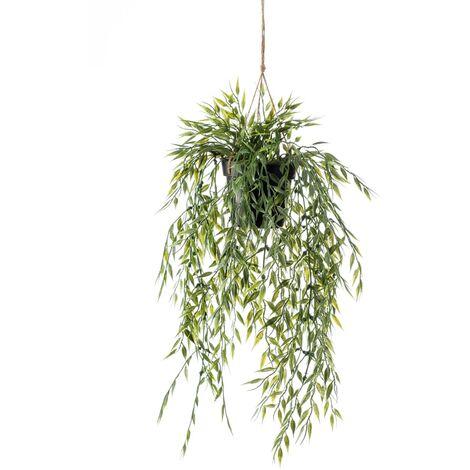 "main image of ""Emerald Artificial Bamboo Hanging Bush in Pot 50 cm - Green"""