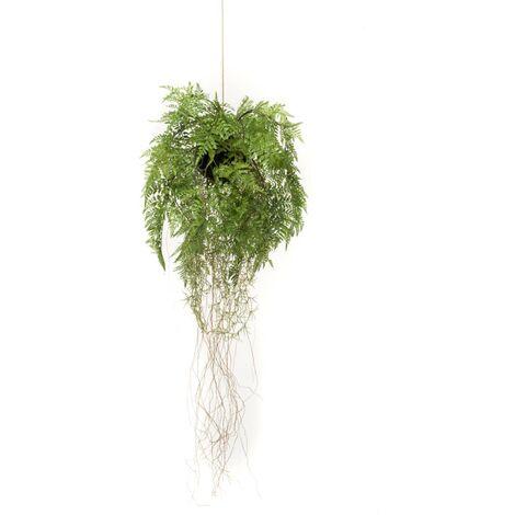 Emerald Helecho colgante artificial con raíces 35 cm - Verde