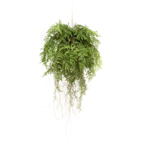 Emerald Helecho colgante artificial con raíces 55 cm - Verde