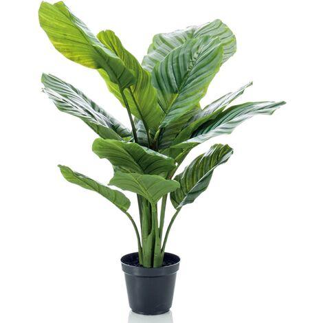Emerald Planta artificial Calathea Orbifolia en maceta 60 cm