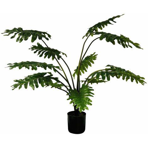 Emerald Planta artificial Philodendron con macetero 80 cm - Verde