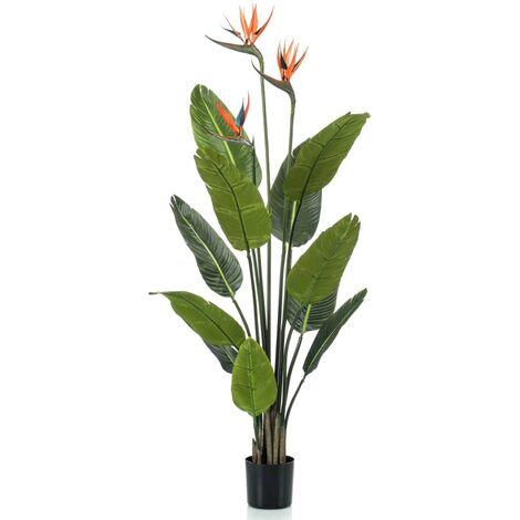 Emerald Planta artificial Strelitzia con maceta y flores 120 cm - Verde