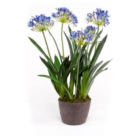 Emerald Planta de agapanto artificial 75 cm azul