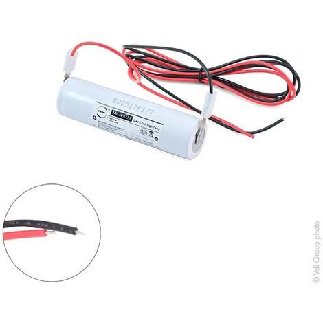 Emergency lighting battery 2xD ST4 + wires 2.4V 4Ah