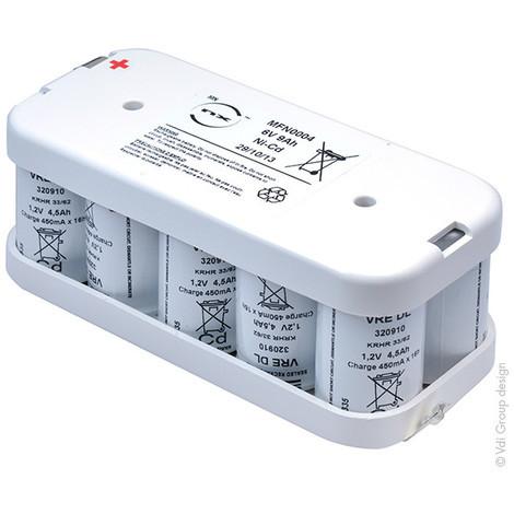 Emergency lighting battery pack 10x D VRE 5S2P ST2 6V 9Ah tag