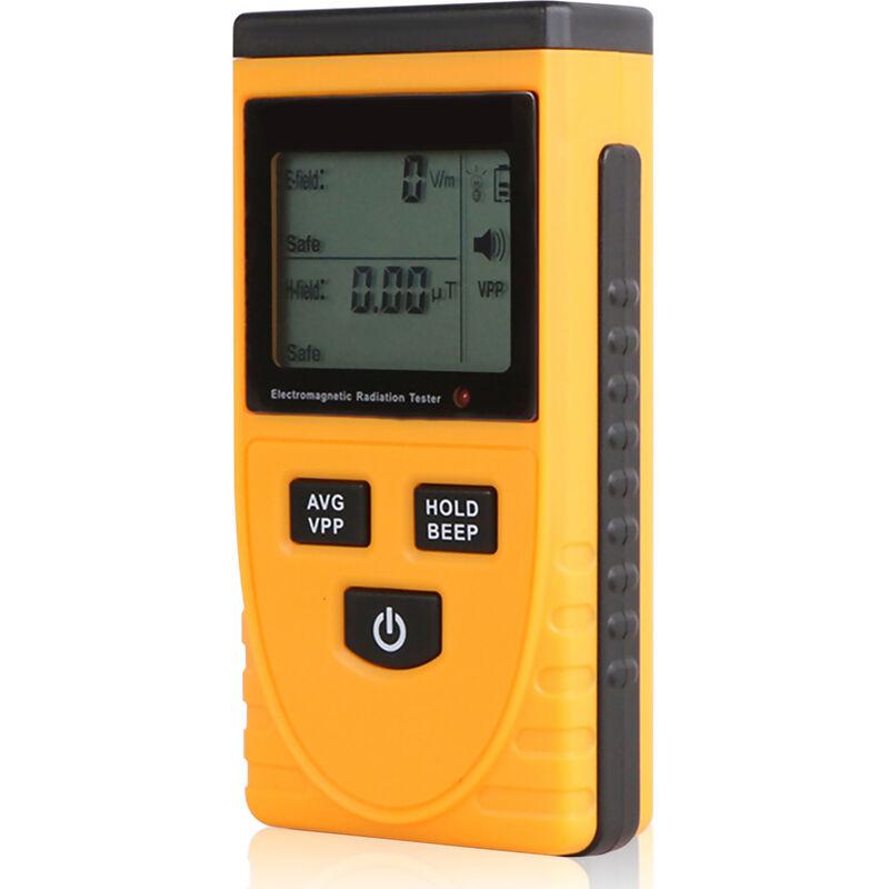 EMF mide EMF Detector de Radiacion electromagnetica Probador 5Hz-3500MHz con LCD de la alarma del sonido de luz para campos magneticos y electricos