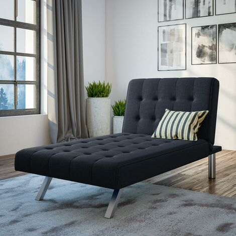 Emily Chaise Single Sofa Bed Button Tufted Navy Blue Linen