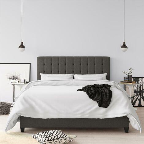 Emily Upholstered Bed Frame 5ft King Size UK 150 cm Grey Linen By Dorel Home