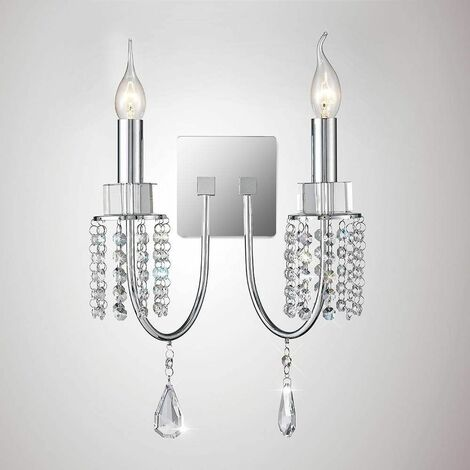 Emily wall light with switch 2 lights polished chrome / crystal