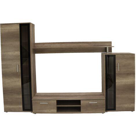 """main image of """"EMINO - Ensemble meubles TV 4 éléments - Mur TV avec rangements - Rangement TV - Armoires vitrées - Aspect bois - Gris/Chêne"""""""