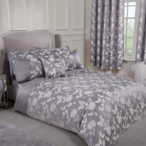 Emma Barclay Butterfly Meadow Duvet Super King Bed Silver, 100% Polyester