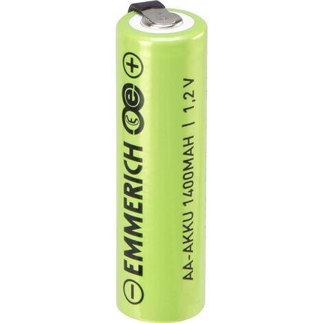 Pile rechargeable spéciale LR6 (AA) Emmerich A ULF 1497076 cosses à souder en U, résiste aux courants élevés NiMH 1.2 V 1400 mAh 1 pc(s) W047481