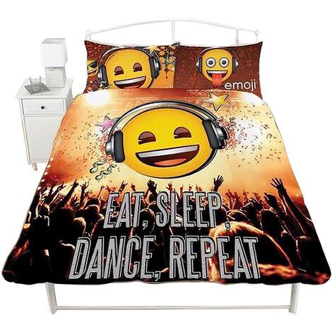 Emoji Eat Sleep Dance Repeat Duvet Set (Single) (Multicoloured)