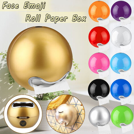 Emoji Face Ball Shaped Bathroom Wall Mounted Toilet Paper Holder Paper Roll Box (Gold)