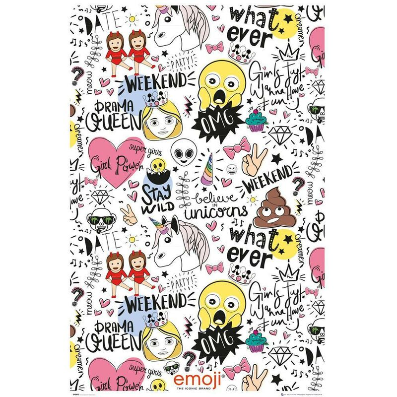 Image of Emoji Millennials Poster (One Size) (White/Pink/Yellow)