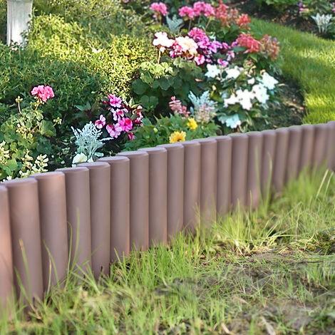 Empalizada para jardín - Set de 10 unidades - separadores para césped - marrón Longitud 270cm