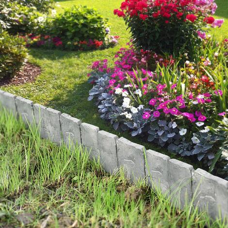 Empalizada para jardines - set de 10 unidades - gris con apariencia de piedra - longitud 250cm separadores