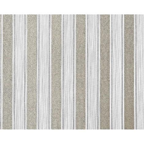 Empapelado a rayas XXL no tejido EDEM 658-90 Rayas bloque elegantes blanco gris bronce brillante 10,65 m2
