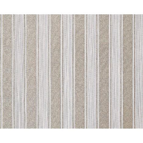 Empapelado a rayas XXL no tejido EDEM 658-93 Rayas bloque elegantes pardo beige bronce brillante 10,65 m2