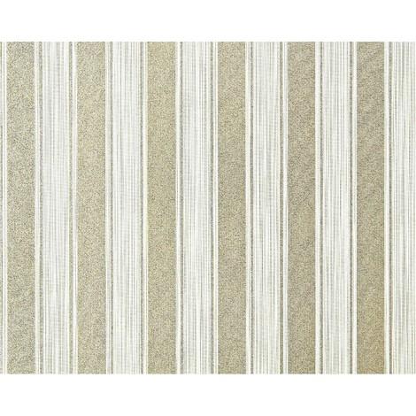 Empapelado a rayas XXL no tejido EDEM 658-95 Rayas bloque elegantes verde crema dorado brillante 10,65 m2