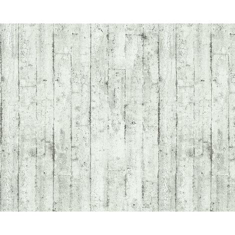 Empapelado aspecto madera EDEM 81108BR00 papel pintado vinílico estampado en caliente con dorso textil ligeramente texturado de estilo shabby chic mate blanco gris antracita 10,65 m2