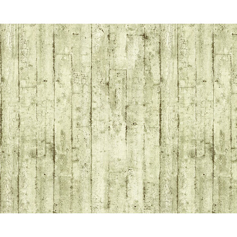 Empapelado aspecto madera EDEM 81108BR03 papel pintado vinílico estampado en caliente con dorso textil ligeramente texturado de estilo shabby chic mate oliva blanco-crema marrón 10,65 m2