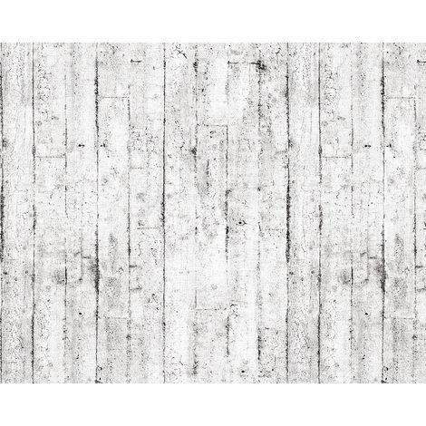 Empapelado aspecto madera EDEM 81108BR05 papel pintado vinílico estampado en caliente con dorso textil ligeramente texturado de estilo shabby chic mate blanco gris marrón 10,65 m2