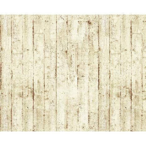 Empapelado aspecto madera EDEM 81108BR07 papel pintado vinílico estampado en caliente con dorso textil ligeramente texturado de estilo shabby chic mate crema beige marrón 10,65 m2