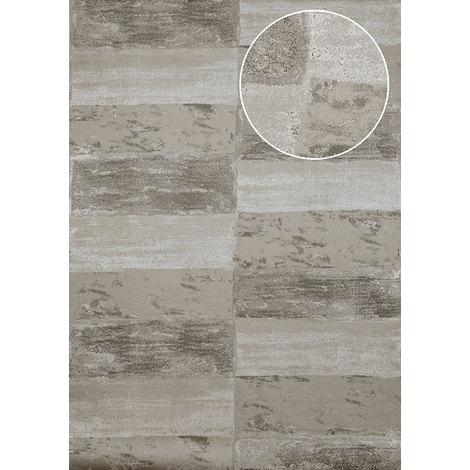 Empapelado aspecto piedra azulejos Atlas ICO-5072-2 papel pintado no tejido liso con dibujo naturaleza efecto satinado gris gris-piedra gris cuarzo 7,035 m2