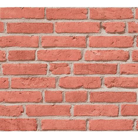 Empapelado aspecto piedra azulejos Profhome 355811-GU papel pintado no tejido ligeramente texturado de aspecto piedra mate rojo beige 5,33 m2