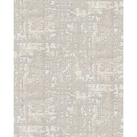 Empapelado aspecto textil Profhome DE120092-DI papel pintado vinílico estampado en caliente tejido non tejido gofrado de aspecto textil efecto satinado blanco gris-claro 5,33 m2