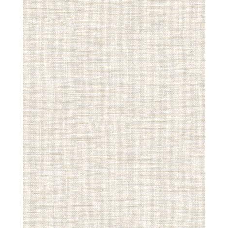 Empapelado aspecto textil Profhome DE120111-DI papel pintado vinílico estampado en caliente tejido non tejido gofrado tono sobre tono mate blanco 5,33 m2