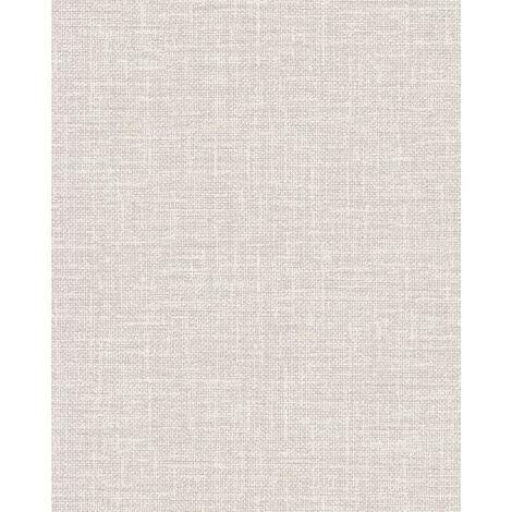 Empapelado aspecto textil Profhome DE120112-DI papel pintado vinílico estampado en caliente tejido non tejido gofrado tono sobre tono mate beige blanco-crema 5,33 m2