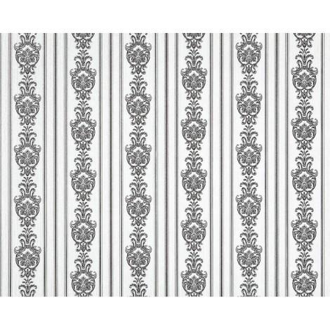 Empapelado barroco 3D rayas no tejido XXL EDEM 660-90 Diseño brocado elegante aspecto textil blanco negro 10,65 m2