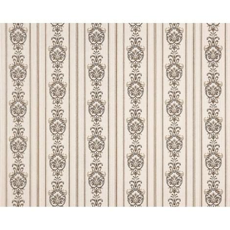 Empapelado barroco 3D rayas no tejido XXL EDEM 660-93 Diseño brocado elegante aspecto textil crema beige marrón 10,65 m2