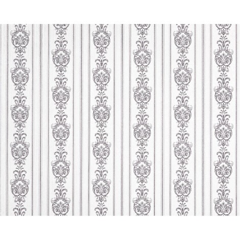 Empapelado barroco 3D rayas no tejido XXL EDEM 660-96 Diseño brocado elegante aspecto textil blanco gris 10,65 m2