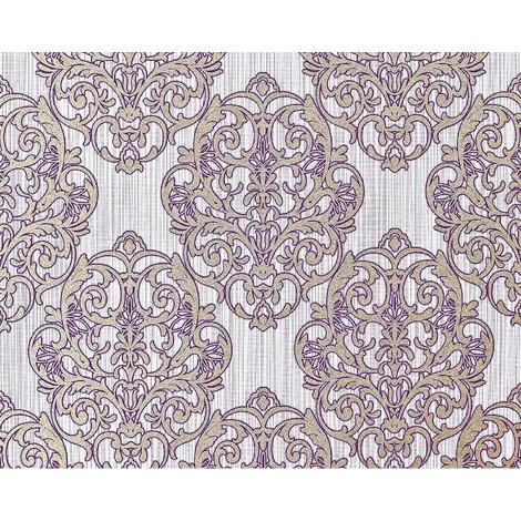 Empapelado barroco 3D XXL no tejido EDEM 648-92 Diseño damasco magnífico lila morado bronce brillante 10,62 m2
