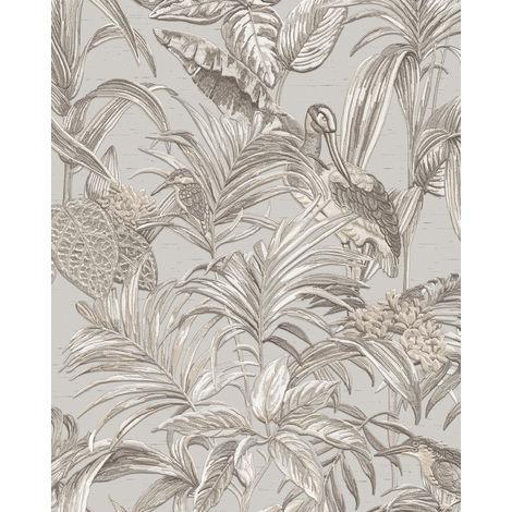 Empapelado con pájaros Profhome DE120011-DI papel pintado vinílico estampado en caliente tejido non tejido gofrado de diseño exótico brillante gris blanco plata 5,33 m2