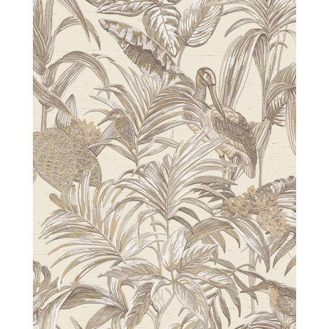 Empapelado con pájaros Profhome DE120012-DI papel pintado vinílico estampado en caliente tejido non tejido gofrado de diseño exótico brillante marfil blanco-crema bronce 5,33 m2