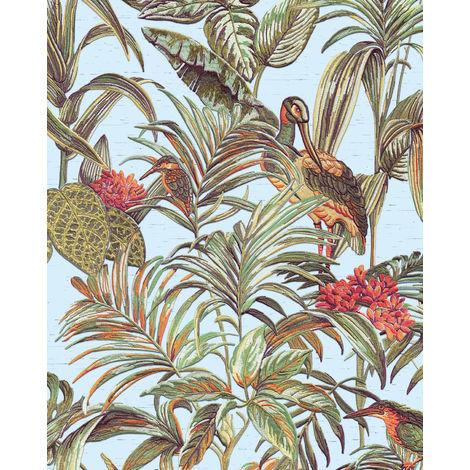 Empapelado con pájaros Profhome DE120014-DI papel pintado vinílico estampado en caliente tejido non tejido gofrado de diseño exótico brillante azul verde marrón 5,33 m2